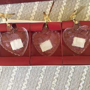 Mikasa Heart Classic 3 heart Christmas ornaments